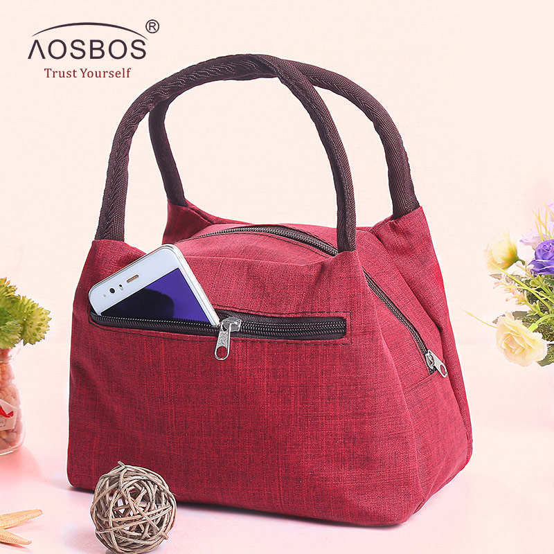 Aosbos Oxford Portable Cooler Lunch Bag Canvas Picnic Tote Bags Solid Thermal Insulated Shoulder Food Bags For Men Women Kids
