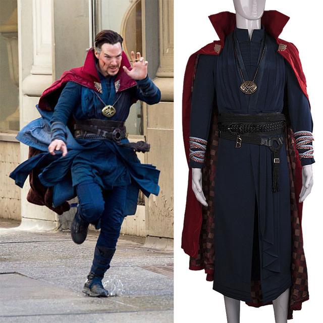 2016 Marvel Movie Doctor Strange Costume Cosplay Steve Red Cloak Full Set Costume Robe Halloween Costume