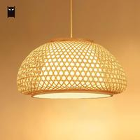 40/50/60cm Bamboo Wooden Wicker Rattan Pendant Light Fixture Woven Asian Nordic Country Vintage Hanging Ceiling Lamp E27 Bulb