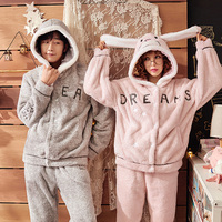 J&Q 2019 Couple Matching Pajamas Flannel Rabbit Hooded Stitch Home Pijamas Suit Letter Embroidered Men And Women Warm Pyjama Set