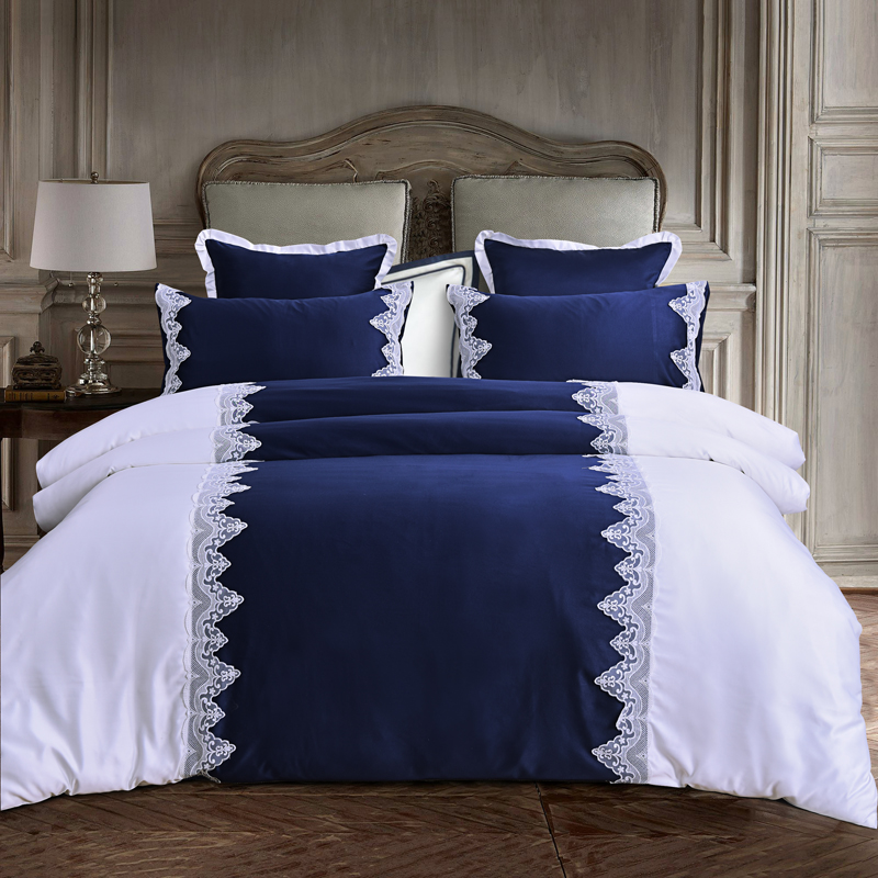 4 6pcs luxury silk satin cotton lace bedding sets twin queen king size Adults kids blue