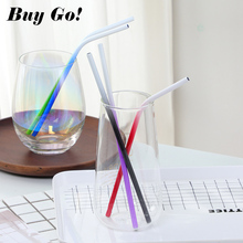 2PCS Reusable Metal Drinking Straw Gradient Color Stainless Steel Straight Bent Straws With Cleaner Brush Bar Party Accessories reusable bent straight stainless steel straws metal straw cocktail drinking straw for 20oz 30oz tumbler party bar accessories