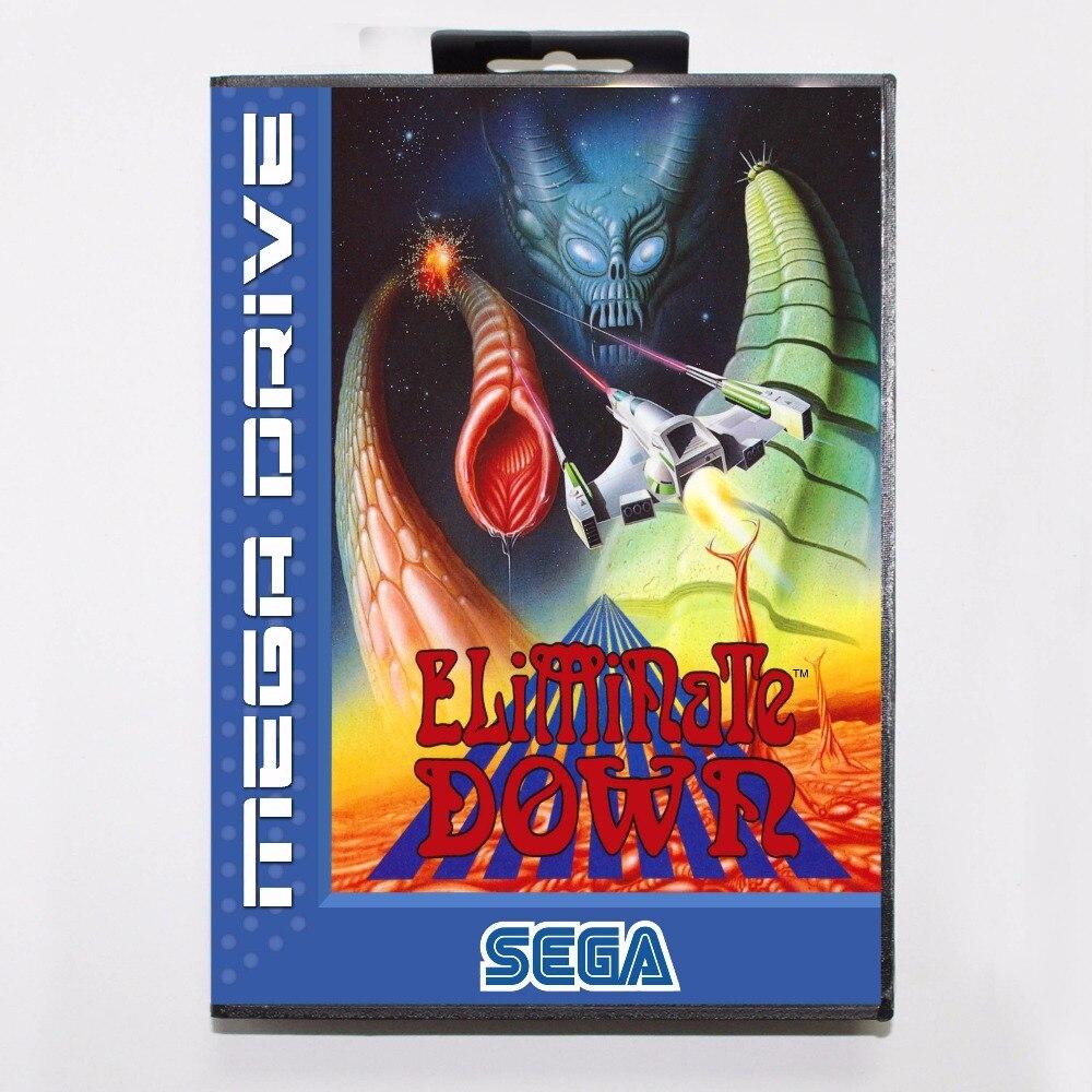Eliminate Down 16 bit MD Game Card With Retail Box For Sega Mega Drive
