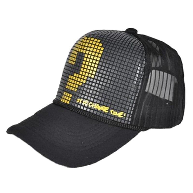Unisex Mesh Trucker Baseball Hip-Hop Hat Adjustable Cap gold question mark
