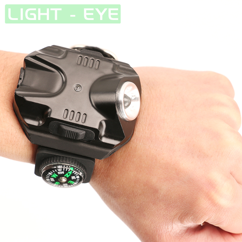 Super Bright Led Watch Flashlight Torch lights Compass Outdoor Sports Mens Fashion Waterproof Rechargeable Wrist Watch Lamp