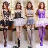 Princesa Sexy de encaje mini vestido amante esclavitud arco de rejilla de trajes Halter porno corbata erótica COSPLAY ropa interior stripper