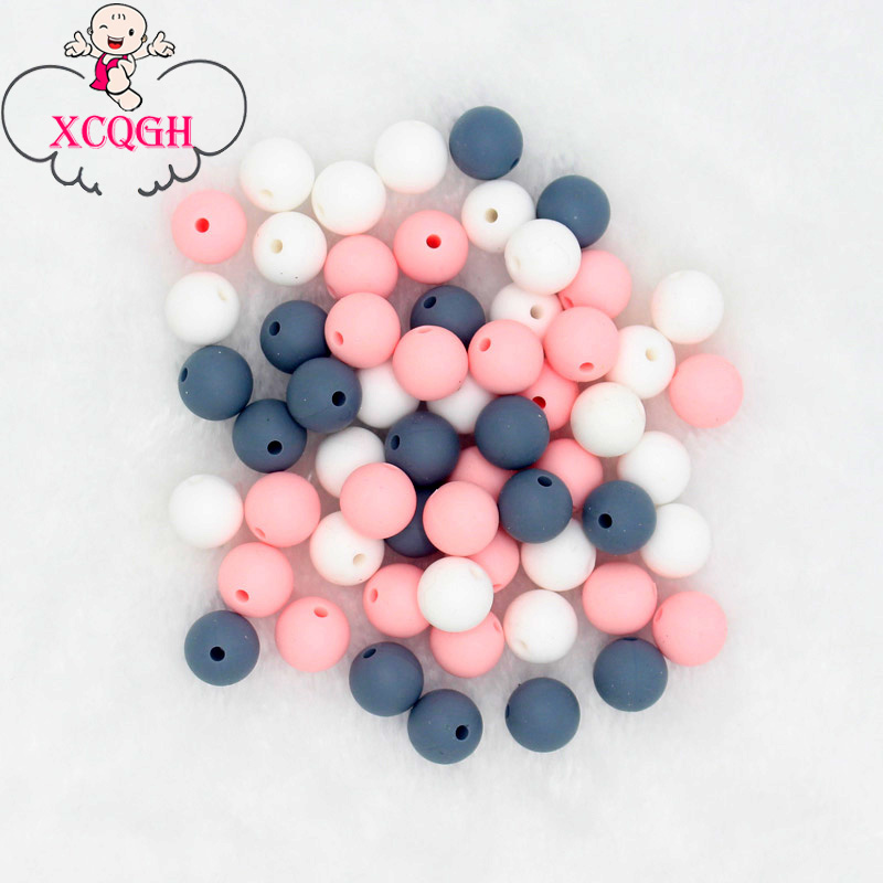 XCQGH Silicone Beads 12MM 30PCS Round Food Grade Silicone Baby Teething Beads DIY Baby Necklace Bracelet