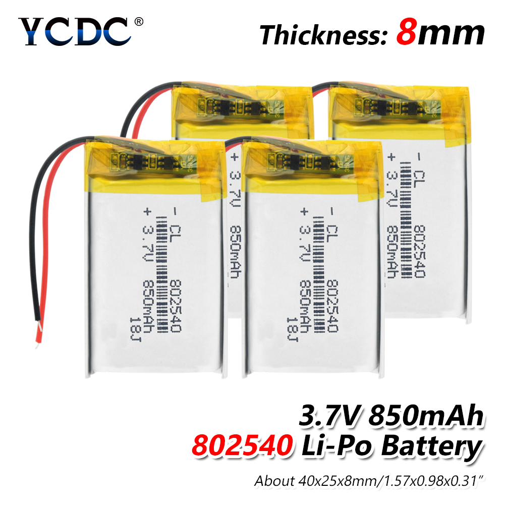 Rechargeable 3.7V 850mAh 802540 Battery li-ion Lipo cells Lithium Li-Po Polymer Battery For GPS MP3 MP4 LED Light RC drone