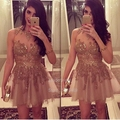 New A-Line Vestidos De Festa Champagne Tulle Applique Beaded Crystal Sequins Cocktail Dresses Mi-Ni Party Gowns CX034