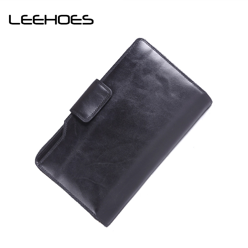 2017 New Classical Genuine Leather Men Wallets Business Wallet Men's Coin Purse Vintage Long Clutch Card Holder Coffee Wallet 2017 vintage men hunter letters long brown pu leather wallet purse card holder clutch wallets gifts lt88