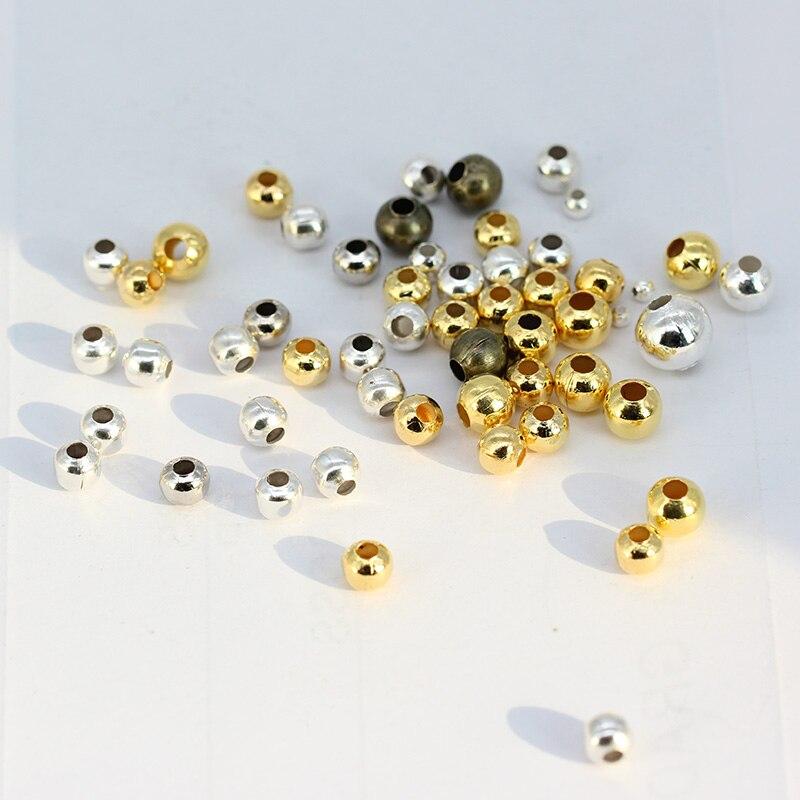 500 до 100 бронза золото и посеребренный металл Гладкий Круглый шарик талисманы spacer Бусины для ремесла Рукоделие ювелирных изделий 2 мм до мм 8