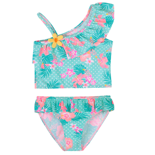 d86622dcc2 BAOHULU Summer Baby Girl Swimsuit Bikinis 1-8 Years Cyan Flower Swimwear  for Girls UV50+Sun Protective Children Bathing Suits