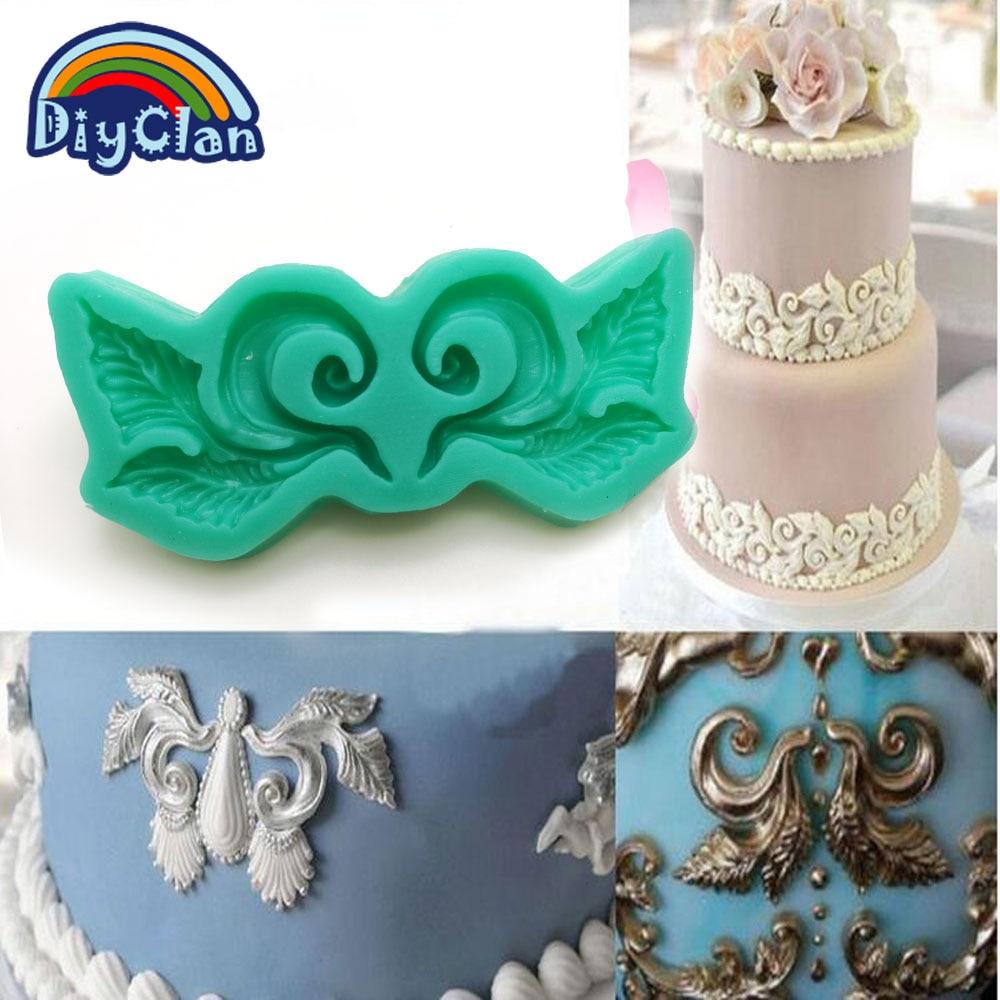 torta për forma silikoni për kufijtë për dekorimin e tortave me vazo të çokollatës me llak çokollate lë formën e dantellave mat F0648HM35