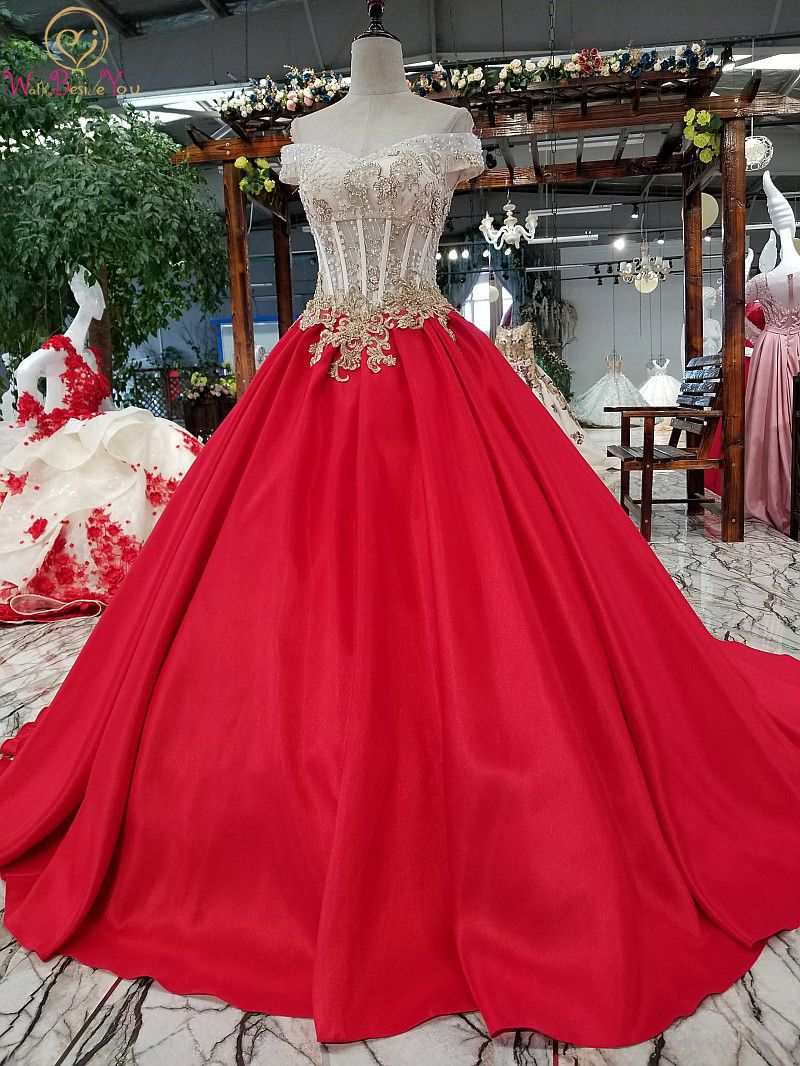 Walk Beside You Red Wedding Dresses Satin Ball Gown Off Shoulder Sweetheart Lace Appliques Beaded Bow