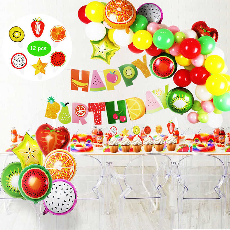 Tutti Frutti Party Decorations Set For Kid Happy Birthday Banner Fruit Foil Balloons Party Hawaiian Party Decoration Baby Shower