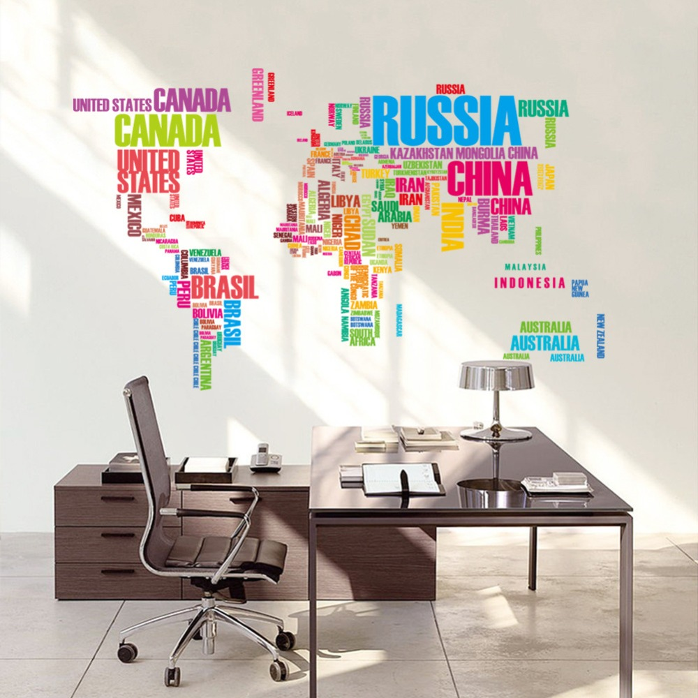 Sell Well Color World Map Quote Removable Vinyl Decal Mural Wall Stickers Room Decor Poster Wall Decal Home Decor Free Shipping