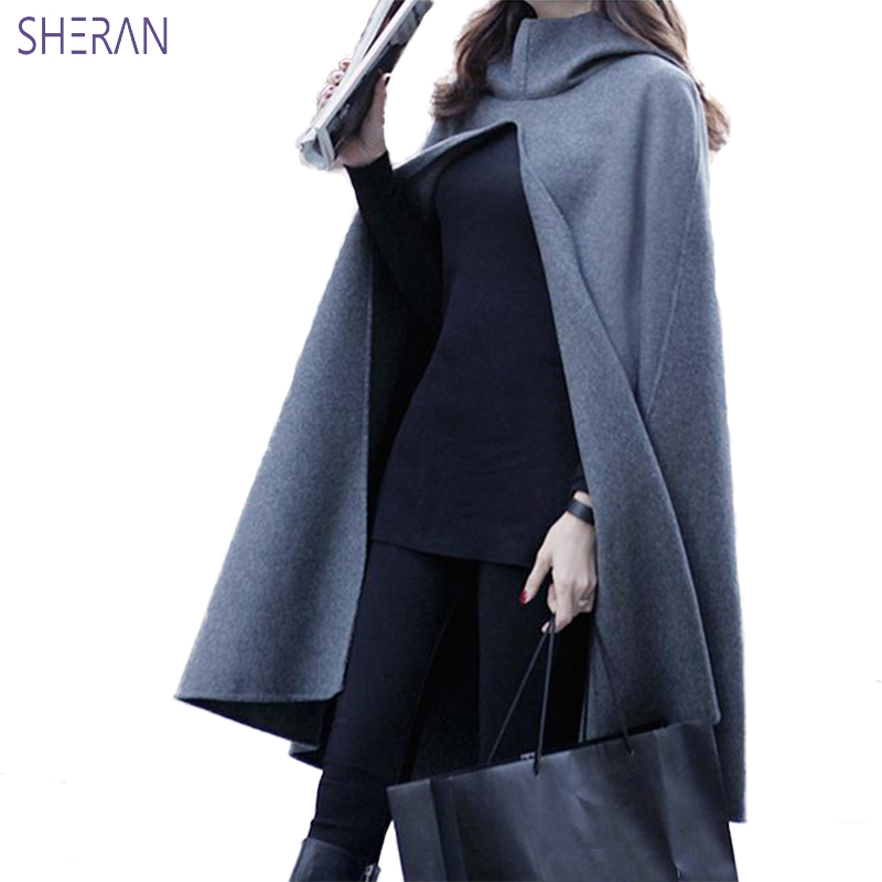 SHERAN Winter Coat Women 2018 Hooded Cape Plus Size Trench Coat Woolen Coats Women Black Long Paragraph Shawl Overcoat Jackets