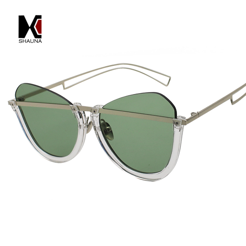 SHAUNA Retro Half Frame Women Cat Eye Sunglasses Men Clear Green Glasses UV400