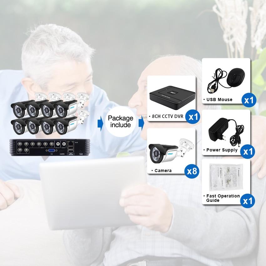 Smar 8CH 1080N AHD DVR Kit 5 IN 1 8PCS 720P/1080P Outdoor CCTV Camera System IR Security Camera Video Surveillance System
