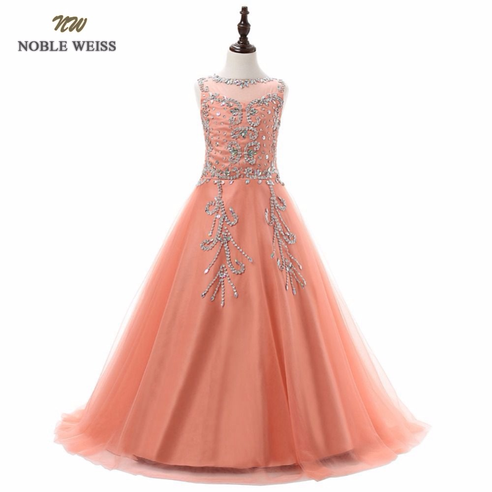NOBLE WEISS long flower girl dress zipper back holy communion dress girls pageant evening gowns vestido de festa infantil menina