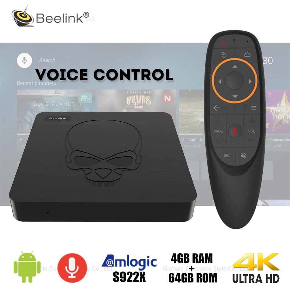 Beelink gt-king Smart TV Box Android 9.0 Amlogic S922X 4GB LPDDR4 64GB ROM avec télécommande vocale décodeur 4K décodeur