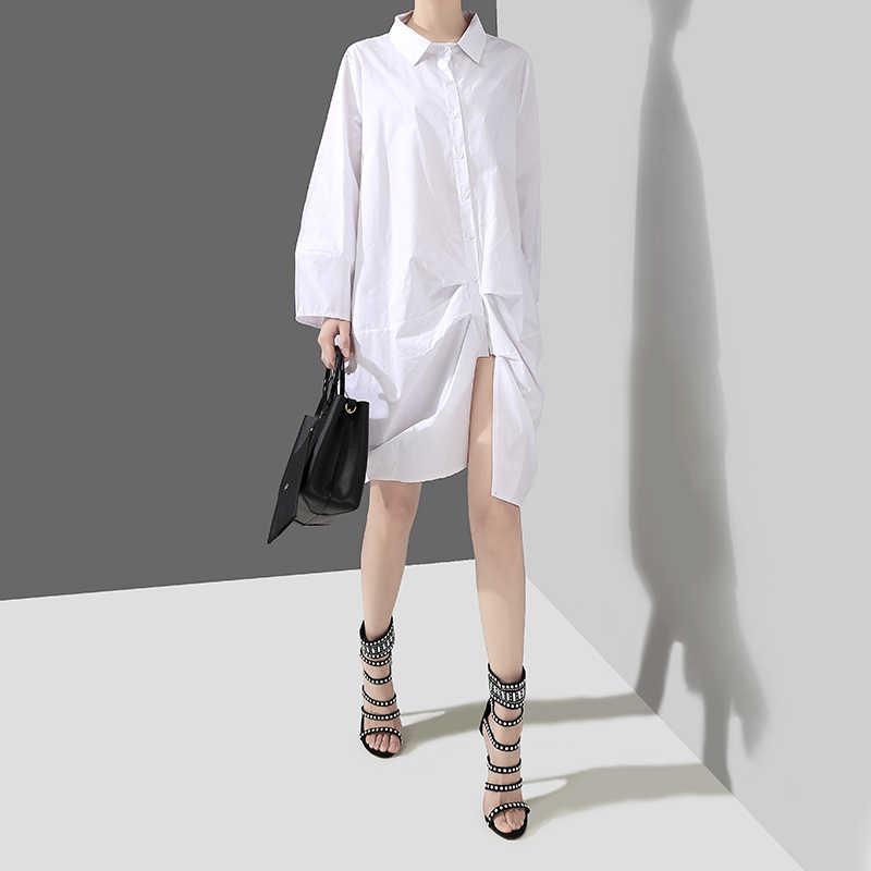 Женское платье-рубашка с длинными рукавами, однотонное черное или белое короткое платье большого размера неравномерной длины, модель 4700 в корейском стиле, 2019