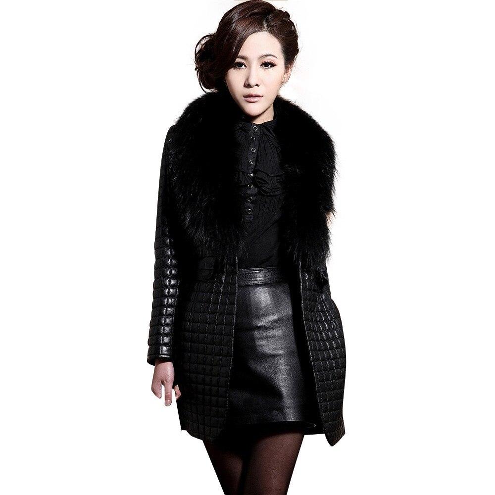 New warm women jacket coat winter black women coats fashion Faux Leather Fur slim female jacket ...