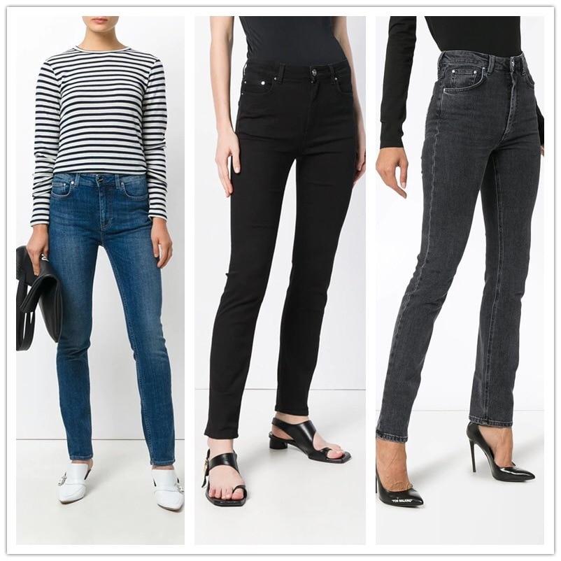Recto azul Grey Completa gris Oscuro Mujer Estándar 2018fw Algodón Denim Vaqueros Polar Longitud Alta Talle Ajustados Forro Pantalones Negro De xgtt54qwpT