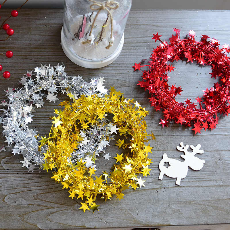 1pc 7.5m Christmas Gold Silver Stars Wire Garland Tinsel Star Rattan Xmas Tree Decoration for Home Wedding Birthday
