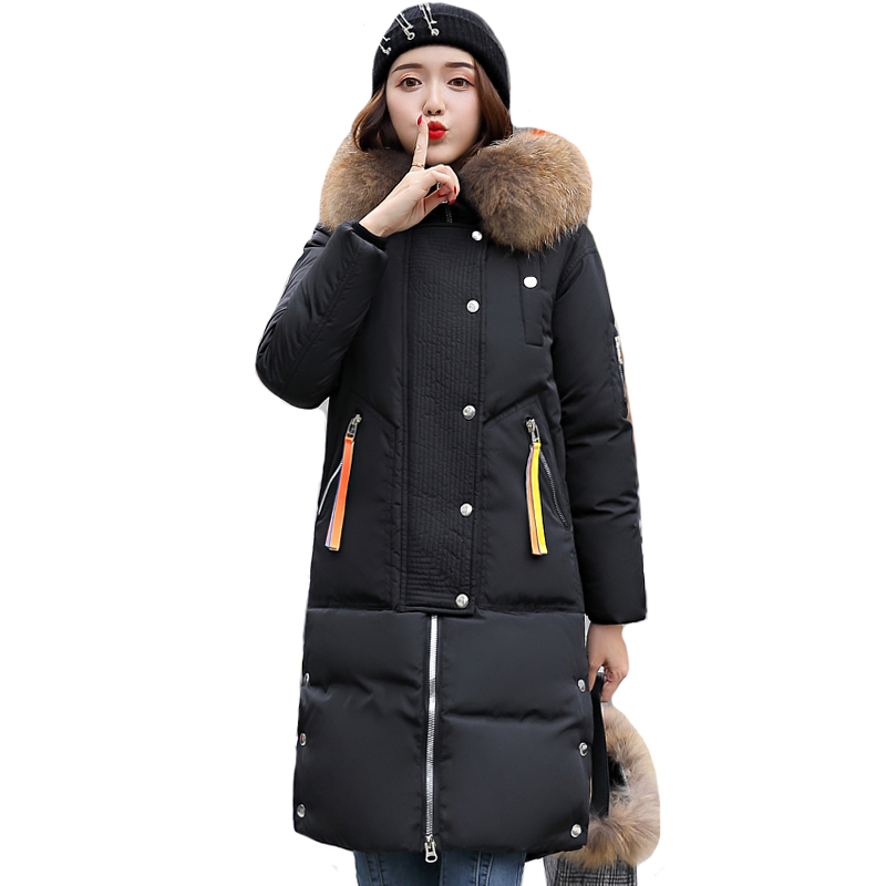 High Quality Women Winter Jacket With Fur Collar Hooded Warm Thicken Female   Down     Coat   Long Padded Outwear Parka
