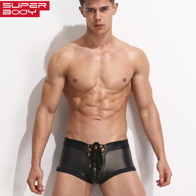 SUPERBODY New Arrival Men's Boxers Solid Underwear Low-waist Fashion Drawstring Sexy Imitation Leather Boxer Shorts