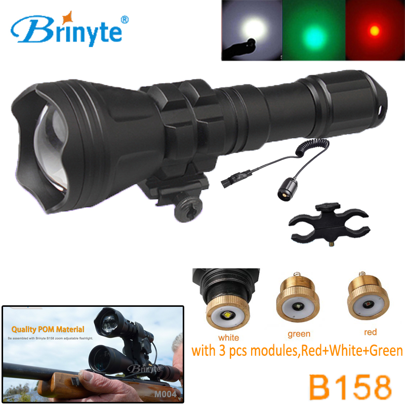 B158 LED Hunting Torch Cree XM-L2 U4 LED Night Hunting Flashlight with RED GREEN WHITE Module Gun Mount Remote Control Switch securitying red green white hunting led flashlight torch xm l2 u4 led 5 mode zoomable waterproof flash light remote switch