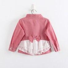 Girls Fashion Plaid Blouses Long Sleeves Shirts For Girls Children Cotton Shirts Kids Lace Bowknot Shirts