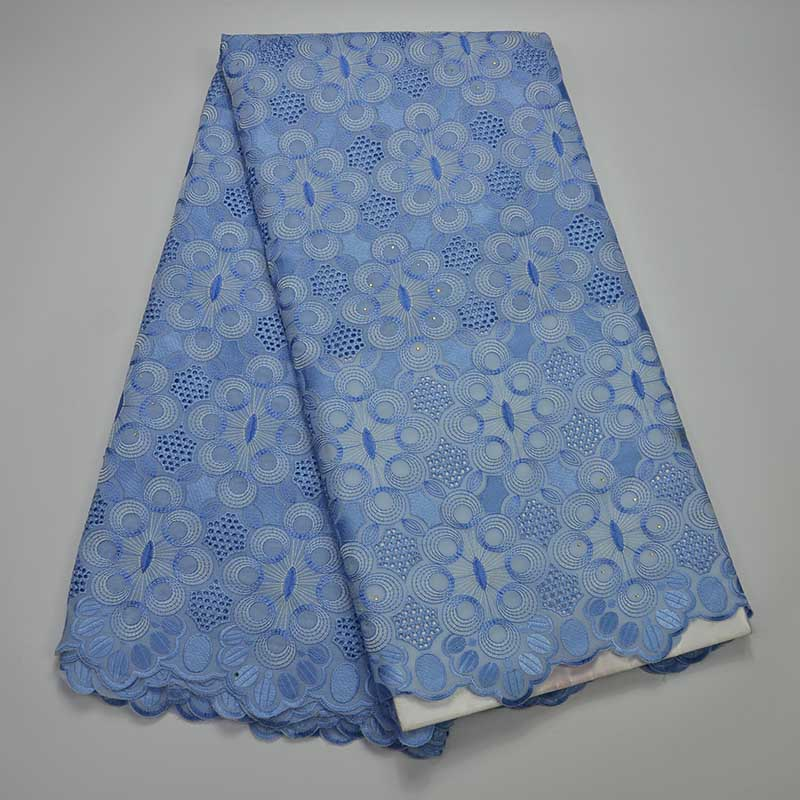 African Lace Fabrics 2017 High Quality Sky Blue Cotton Dry Lace Fabric Swiss Voile With Stone