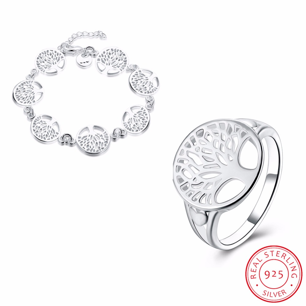 925 sterling silver tree of life jewelry bridal sets Fashion ring bracelet sets 2018 totem gifts wife girl wedding Fine jewellry925 sterling silver tree of life jewelry bridal sets Fashion ring bracelet sets 2018 totem gifts wife girl wedding Fine jewellry