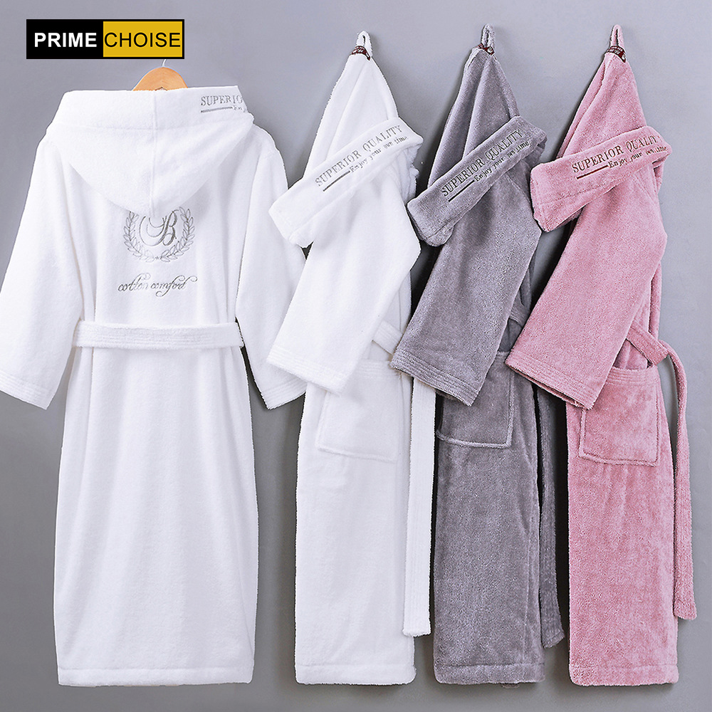 Cotton Bathrobe Hooded Thick warm Winter Dressing Gown Long Robe Wedding Bridesmaid Robe white