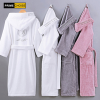 Cotton Bathrobe Hooded Thick warm Winter Dressing Gown Long Robe Wedding Bridesmaid Robe white