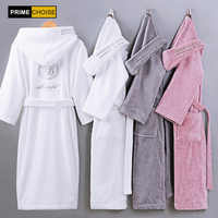 Peignoir en coton à capuche épais chaud hiver Robe de chambre longue Robe de mariée demoiselle d'honneur Robe blanche