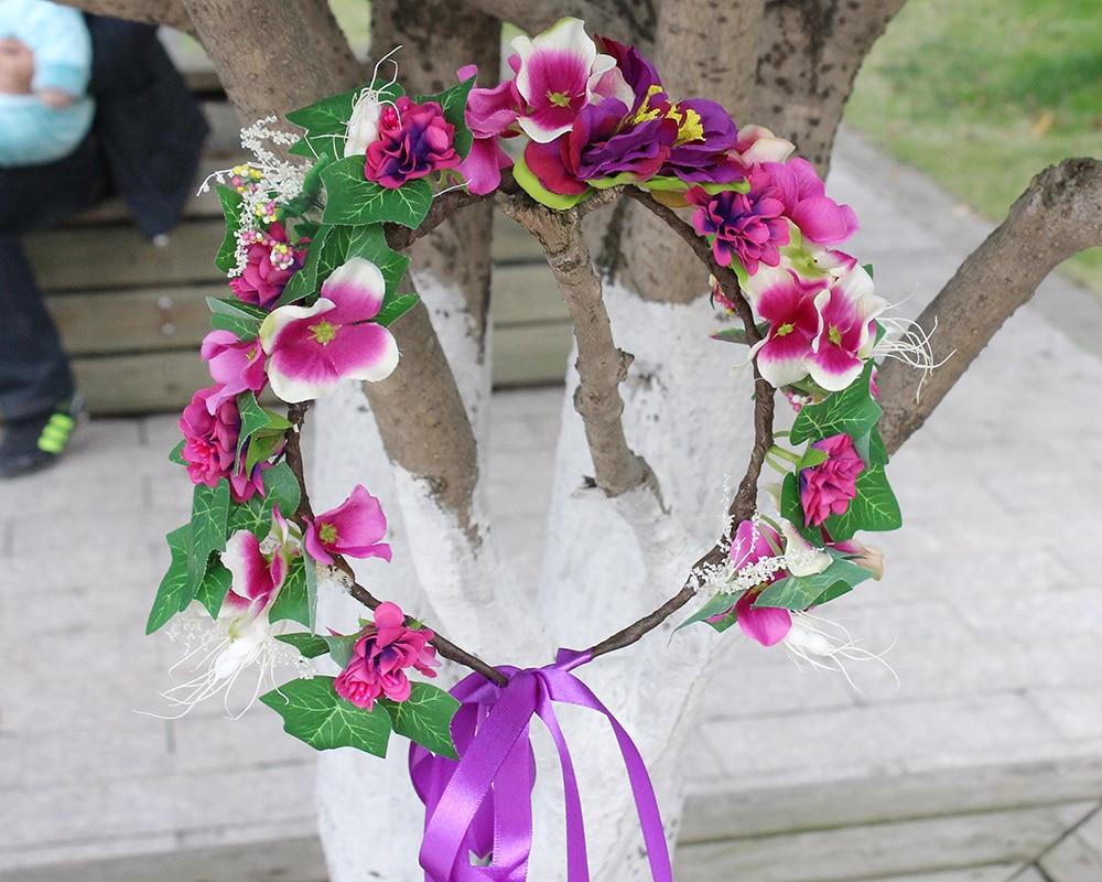 Wedding Hairstyles Headband Flower Rose Crown Girls Halo I Tie Black Women Bride Hair Accessories Purple Floral Garland