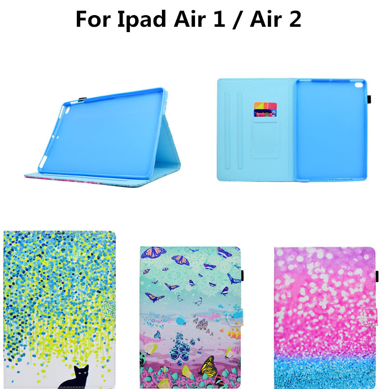 For Apple Ipad Air 1 2 Cases High quality PU Leather Flip Stand Cat Cute Case For iPad Air2 ipad6 ipad5 Cover Funda Skin Shell g cover hi quality fashion flip open pu leather stand case w pocket for ipad air ipad 5 black