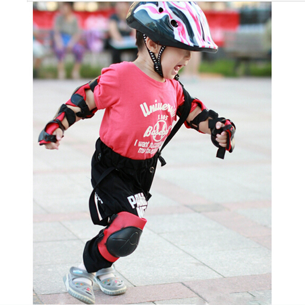 Waymeduo Kid Cycling Roller Skating Knee Elbow Wrist Protective Pads Red