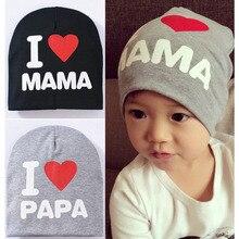 IPC Детские Зимние теплые вязаные шапки для девочек и мальчиков, 1 предмет, с надписью «I LOVE PAPA, MAMA, DAD, MOM», регулируемая От 1 до 3 лет шапка для новорожденных