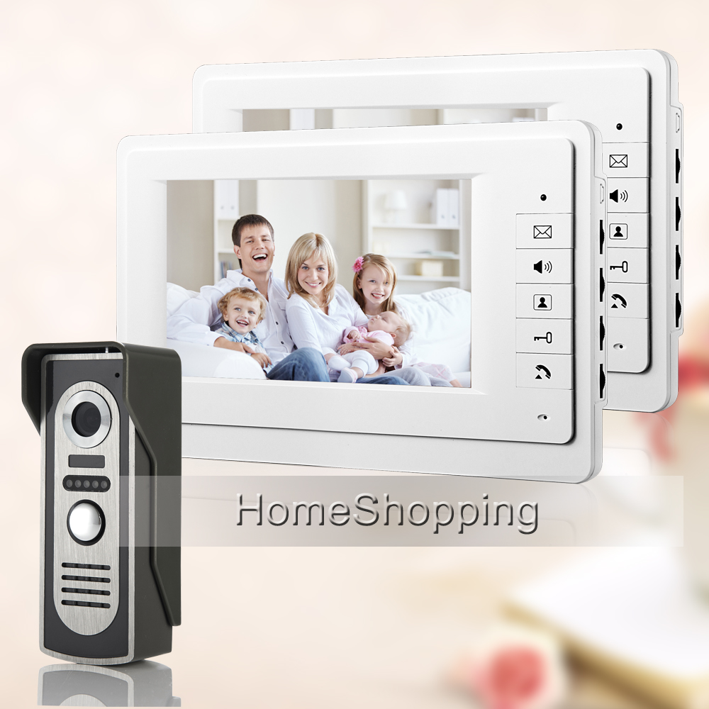 FREE SHIPPING New 7 Color Screen Video Intercom Door Phone System 2 White Monitor 1 Waterproof Outdoor Doorbell Camera In Stock brand new wired 7 touchkey color screen video door phone intercom system 1 monitor 1 doorbell camera free shipping in stock