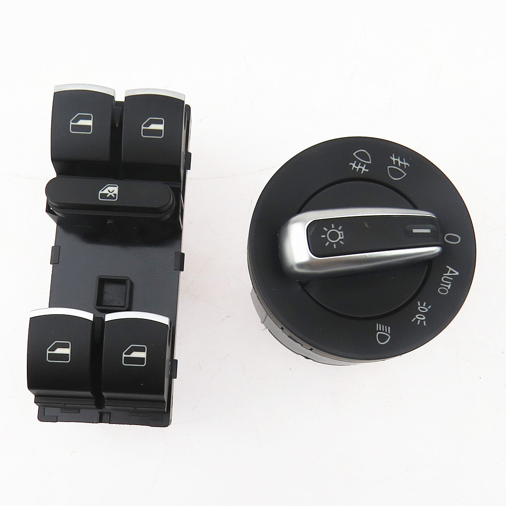 SCJYRXS Chrome Headlight Fog Lamp Window Control Switch Button For Golf MK5 MK6 Passat B6 5ND941431B 5ND959857 5ND 941 431B