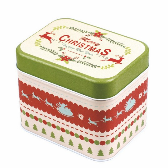 New Arrival 130X100X110mm Christmas candy jewelry biscuit storage metal box container case gift box