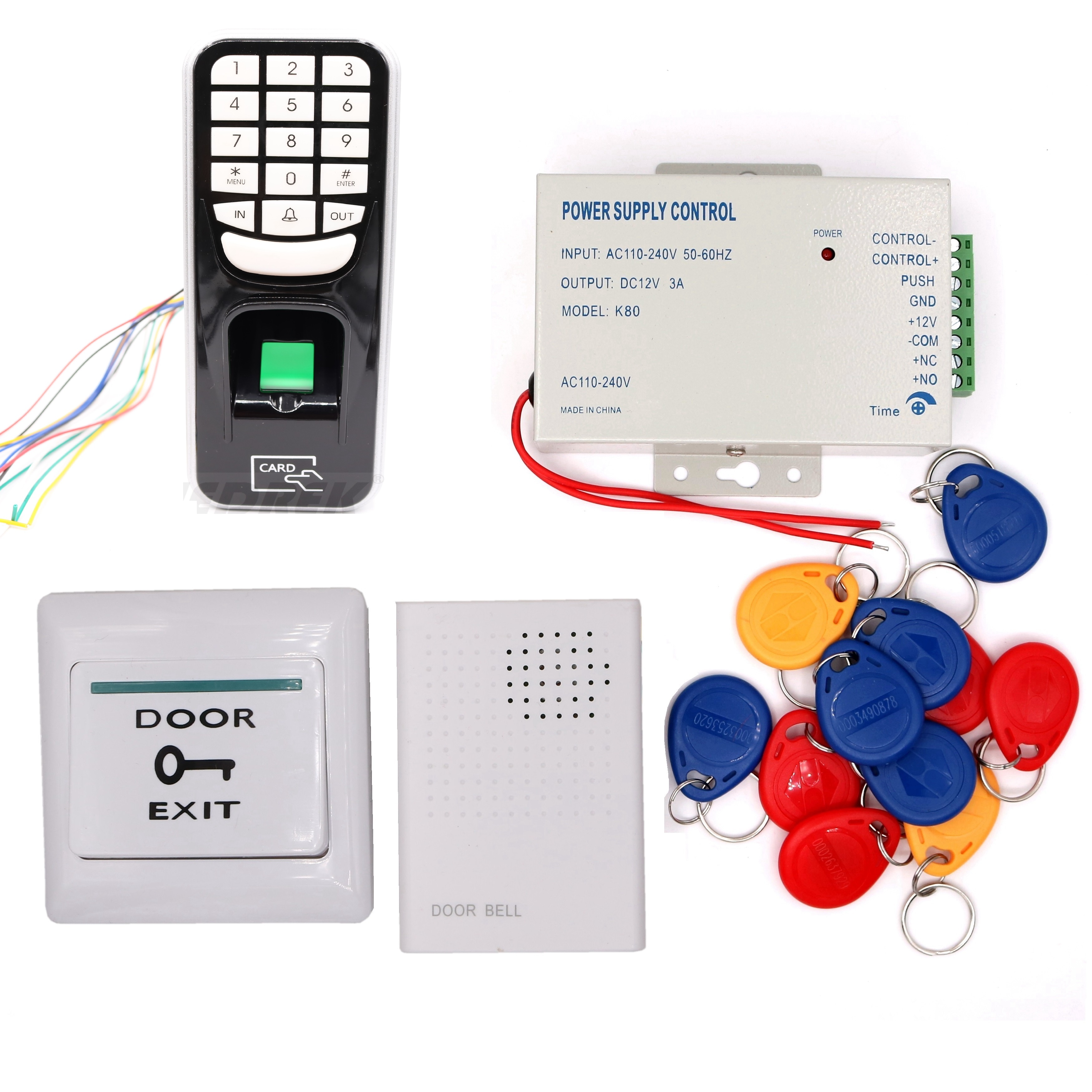 Biometric RFID 125KHz Proximity Card Door Entry Building Door Access Control System (Keypad Power Exit button Doorbell Keyfob) biometric face and fingerprint access controller tcp ip zk multibio700 facial time attendance and door security control system