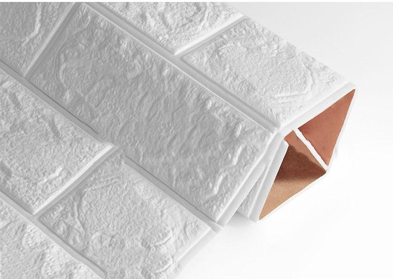 3D наклейки на кирпичную стену, водостойкие наклейки для гостиной, спальни, DIY, самоклеющиеся обои, искусство 60*30*0,8 см, настенные наклейки для дома - Цвет: White