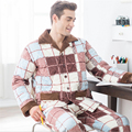 Men winter Cotton-padded jacket Thickening Pajamas suit Fashion popular Turn-down Collar Large size Home clothing warm