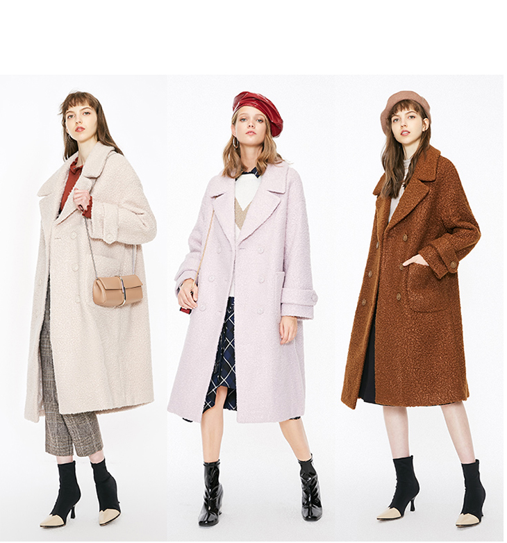 ONLY womens' winter new oatmeal Teddy hair long coat Loose version Rear slit hem design|118422505 12