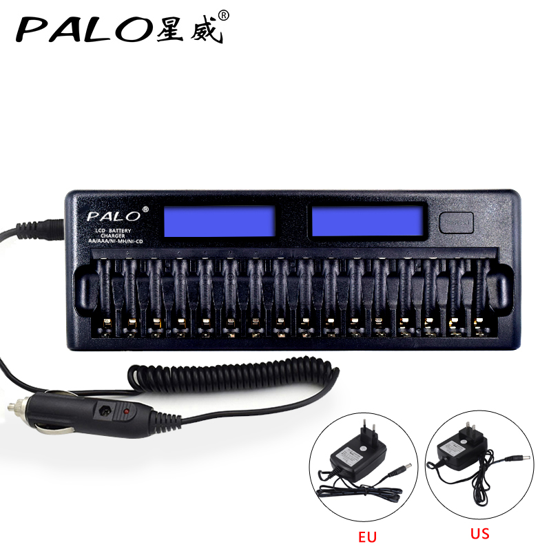 PALO Original 16 Slots Intelligent 2xLCD Display AA/AAA Battery Charger For NI-MH NI-CD Rechargeable Batteries With Car Charger